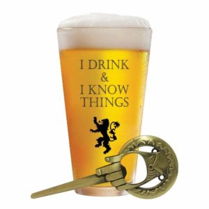 I Drink and I Know Things Glass + Free Hand of The King Opener