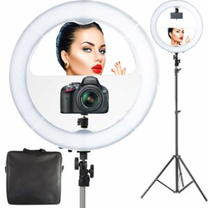 "18"" LED Video Professional Makeup Mirror with Lights 6ft Stand Tripod & Adjustable Heavy Duty Mount"